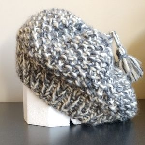 BULKY KNIT OVERSIZED SLOUCHY BEANNIE HAT GRAY